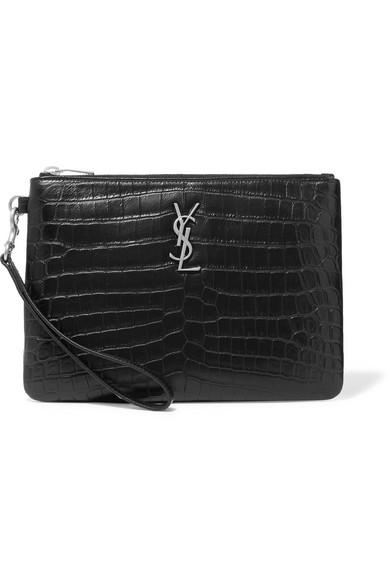 4adb01bc05 monogramme-croc-effect-leather-pouch by saint-laurent