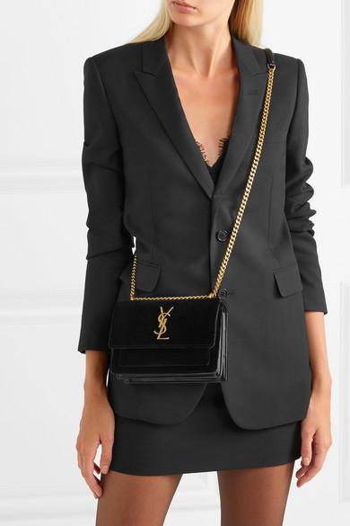 e2d777dc8 SAINT LAURENT. Sunset small velvet and leather shoulder bag. $1,393. Zoom In