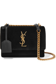 Saint Laurent Sunset small velvet and leather shoulder bag