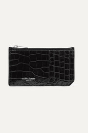Croc-effect patent-leather cardholder