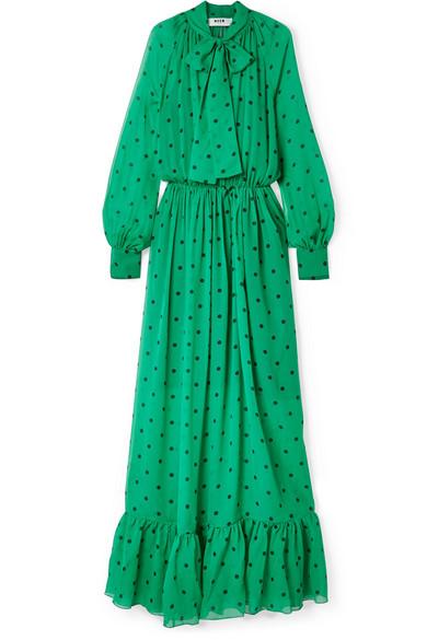 MSGM - Pussy-bow Polka-dot Silk-chiffon Maxi Dress - Jade