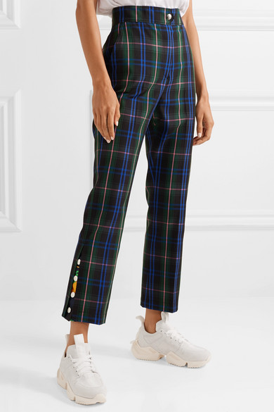 Msgm Pants Button-detailed checked twill straight-leg pants