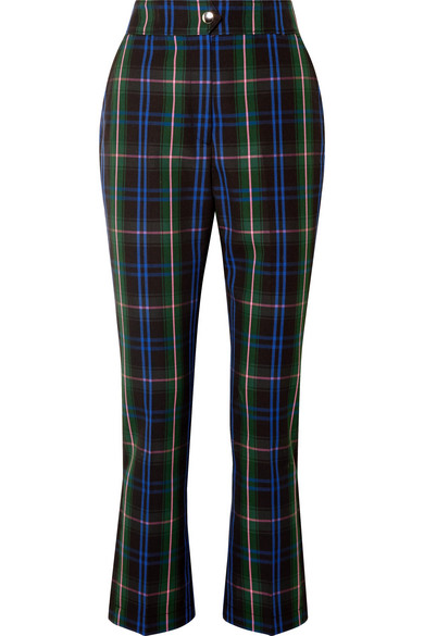 BUTTON-DETAILED CHECKED TWILL STRAIGHT-LEG PANTS