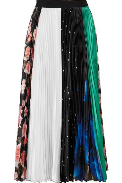 Pleated Printed Satin Midi Skirt in Black