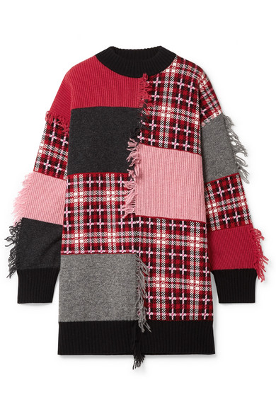 MSGM - Fringed Patchwork Wool-blend Sweater - Pink