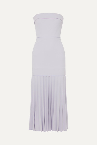 Dion Lee STRAPLESS PLEATED CREPE MAXI DRESS