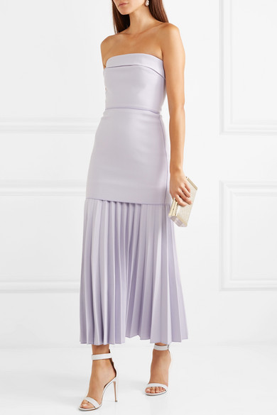 DION LEE Maxi dresses STRAPLESS PLEATED CREPE MAXI DRESS
