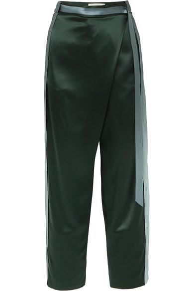 Dion Lee - Striped Silk-satin Pants - Army green