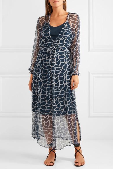 Jemima Giraffe-print Silk-crepon Wrap Midi Dress - Navy Cloe Cassandro AU9bJ0g