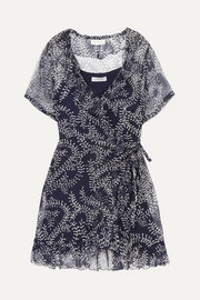 Cloe Cassandro Kimi printed silk-crepon wrap mini dress
