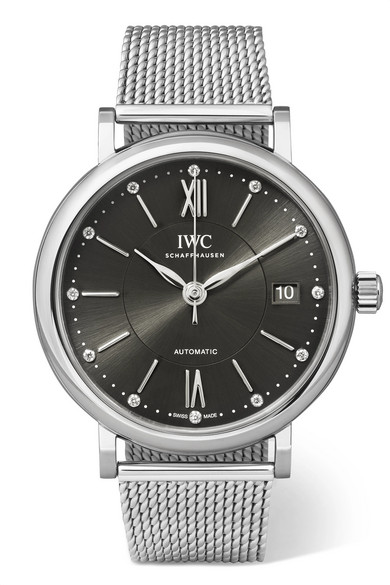 IWC SCHAFFHAUSEN PORTOFINO AUTOMATIC 37 STAINLESS STEEL AND DIAMOND WATCH