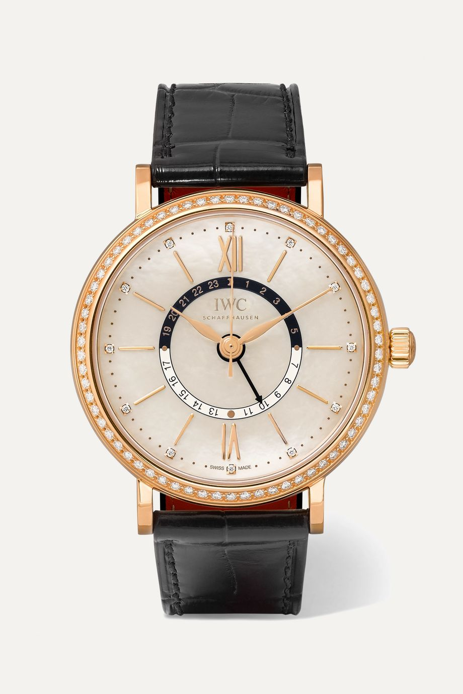 IWC SCHAFFHAUSEN Portofino Automatic Day & Night 37 alligator, 18-karat red gold, mother-of-pearl and diamond watch