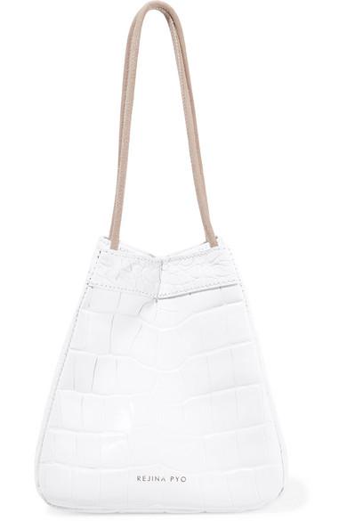 Rita Croc-Effect Leather Bucket Bag in White