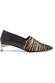 Tiger-print pony hair and leather collapsible-heel pumps
