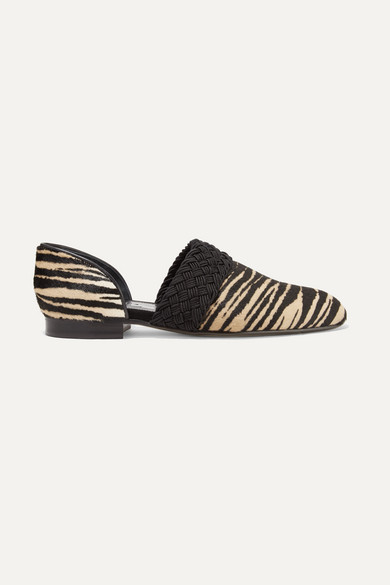 Loewe Shoes Flex d'Orsay braided tiger-print calf hair loafers