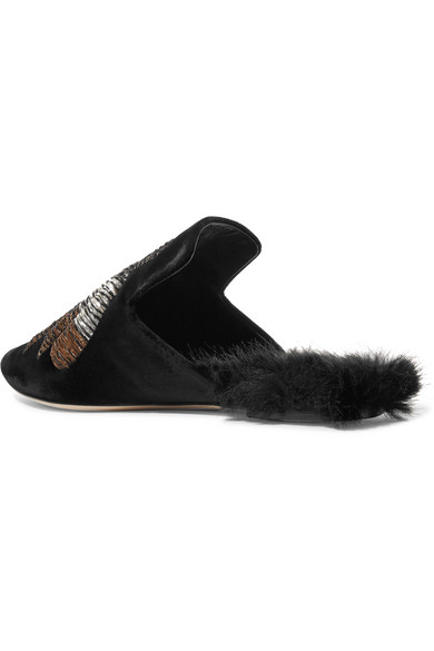 Sanayi 313 | Ragno Faux bestickte Slippers aus Samt mit Faux Ragno Fur 433a1e
