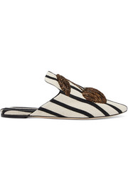 Sanayi 313 Embroidered striped canvas slippers