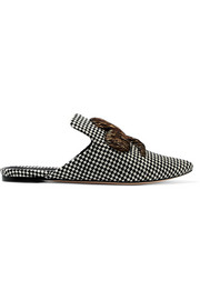 Napola embroidered checked canvas slippers