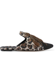 Ragno embroidered leopard-print jacquard, velvet and wool slippers