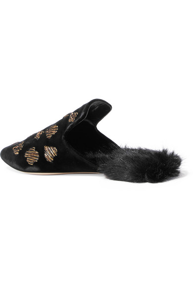 Sanayi 313   Scopone bestickte Slippers aus Faux Samt mit Futter aus Faux aus Fur 09c95a
