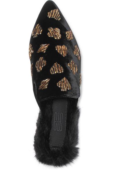 Sanayi 313 | Scopone bestickte Slippers aus Faux Samt mit Futter aus Faux aus Fur 09c95a