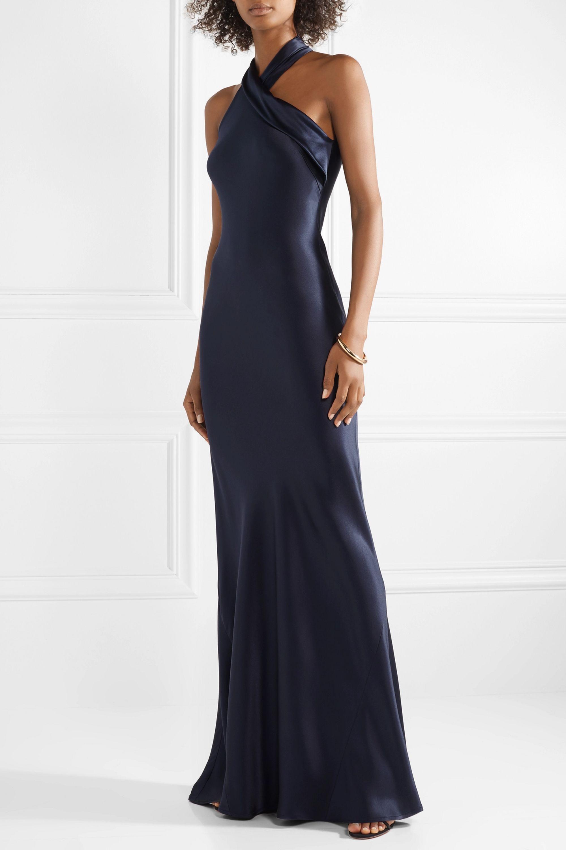 Galvan Pandora silk-satin gown