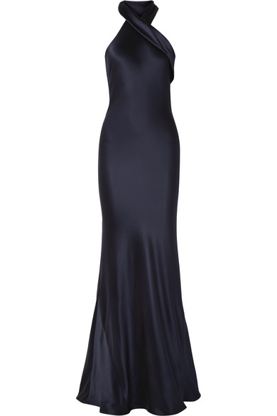 GALVAN Sienna Halterneck Silk Gown in Midnight Blue