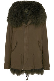 Hooded shearling-lined cotton-canvas parka