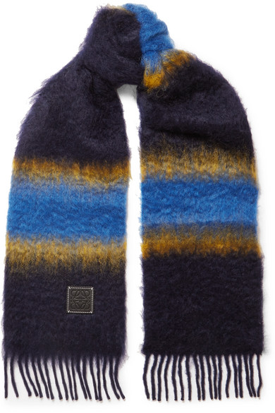 Loewe - Fringed Striped Mohair Scarf - Blue