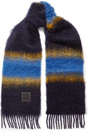 Fringed striped mohair scarf