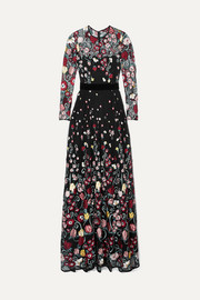 Velvet-trimmed embroidered point d'esprit gown