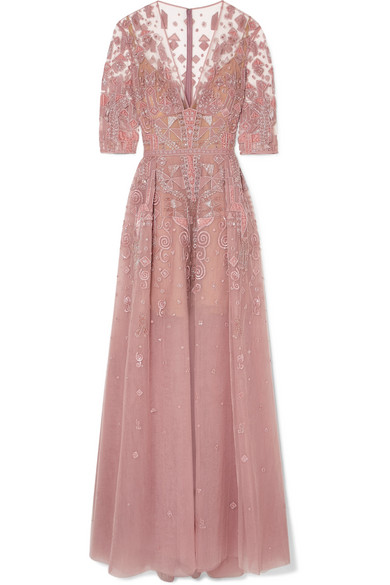 Velvet Trimmed Embellished Silk Blend Tulle Gown by Zuhair Murad