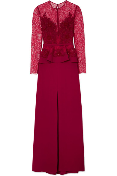 Zuhair Murad - Embellished Corded Lace And Silk-blend Crepe Peplum Gown - Red