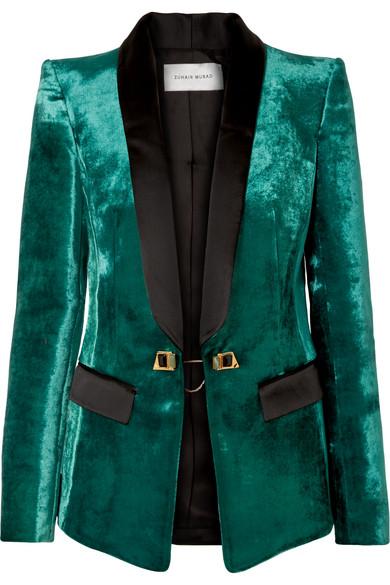 Zuhair Murad - Satin-trimmed Velvet Tuxedo Blazer - Emerald