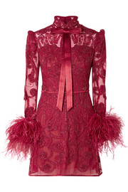 Belle Epoque feather-trimmed embellished lace and tulle mini dress