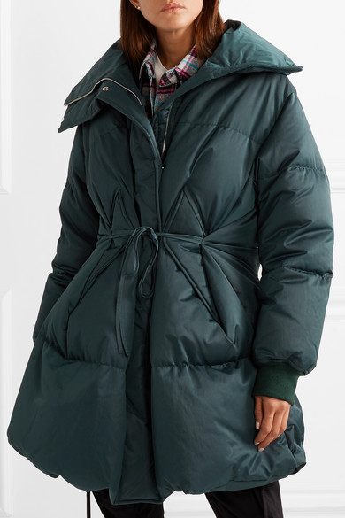 b3ced513a Oversized belted quilted shell down coat
