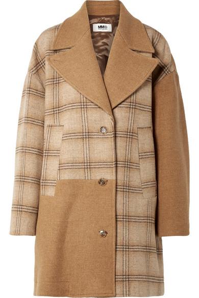 MM6 Maison Margiela - Oversized Patchwork Checked Wool Coat - Camel