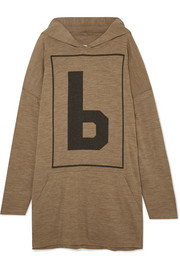 Oversized wool-blend jersey hooded top