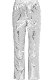 Metallic coated-shell track pants