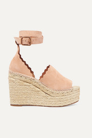 Lauren scalloped suede espadrille wedge sandals