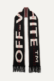 Off-White Intarsia wool-blend scarf