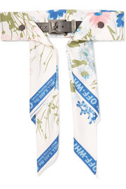 Floral-print satin and leather waist belt