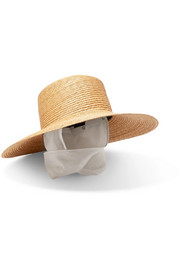 Cotton gauze-trimmed straw sunhat