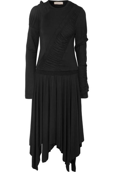 Estela Asymmetric Gathered Stretch-cotton Jersey Midi Dress - x small Preen J4Q8Ndu3R