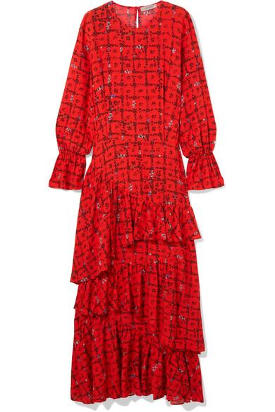 Preen Line - Amina Tiered Floral-print Crepe De Chine Maxi Dress