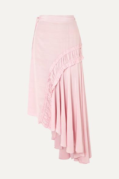 Preen Line - Gracia Asymmetric Shirred Crepe De Chine Midi Skirt - Baby pink