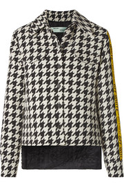 Off-White Canvas jacquard-trimmed houndstooth wool-blend jacket