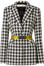 Off-White Canvas jacquard-trimmed houndstooth wool-blend blazer