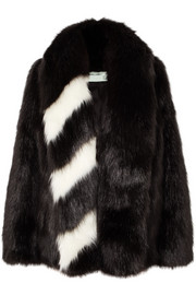 Off-White Oversized striped faux fur jacket
