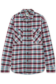 Oversized printed checked cotton-blend flannel shirt